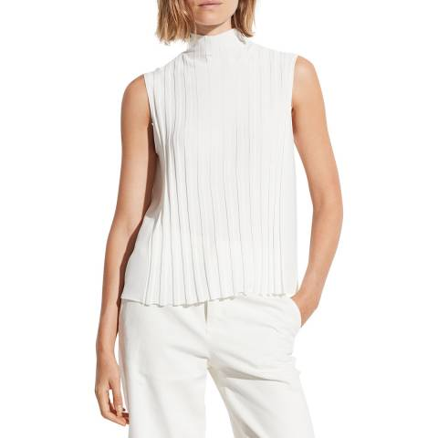 Vince Off White Mixed Turtleneck Top