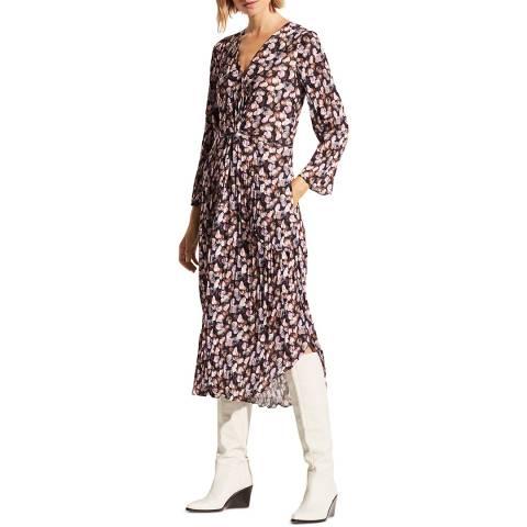 Vince Multi Painted Floral Twist Drape Dress