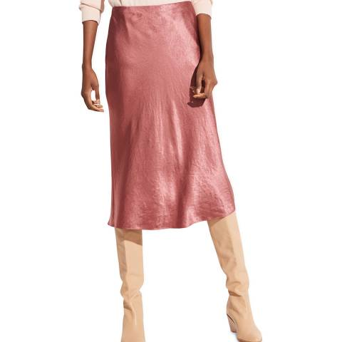 Vince Rose Wood Midi Slip Skirt