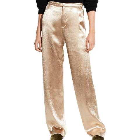 Vince Pale Gold Metallic Wide Leg Trousers
