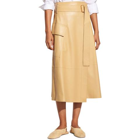 Vince Straw Belted Leather Wrap Skirt