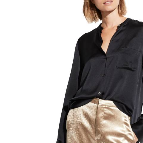Vince Black Silk Slim Fitted Blouse
