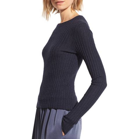 Vince Navy Cashmere Microstripe Crew Jumper