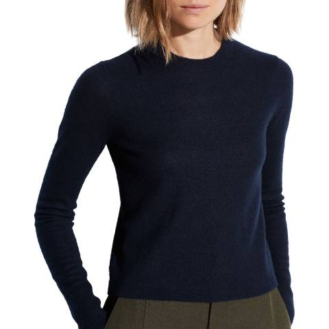 Vince Navy Cashmere Fitted Crew Jumper