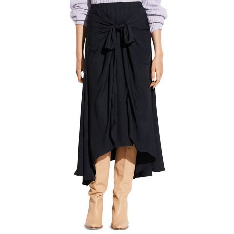 Vince Dark Coastal Tie Front Asymmetric Skirt