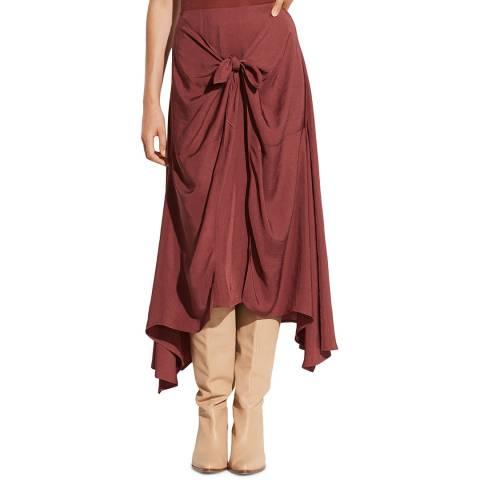 Vince Dark Rosewood Tie Front Asymmetric Skirt
