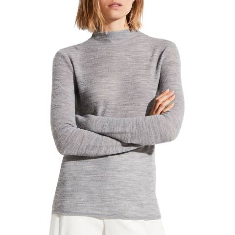 Vince Grey Wool Blend Funnel Neck Top