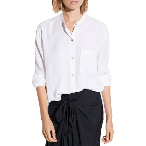 Vince Off White Relaxed Band Collar Blouse