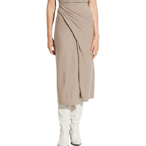 Vince Beige Midi Draped Skirt
