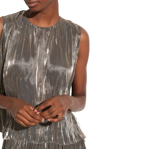 Vince Moonstone Iridescent Pleated Shell Top