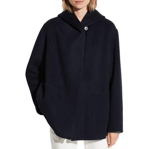 Vince Navy Cashmere/Wool Blend Hooded Coat