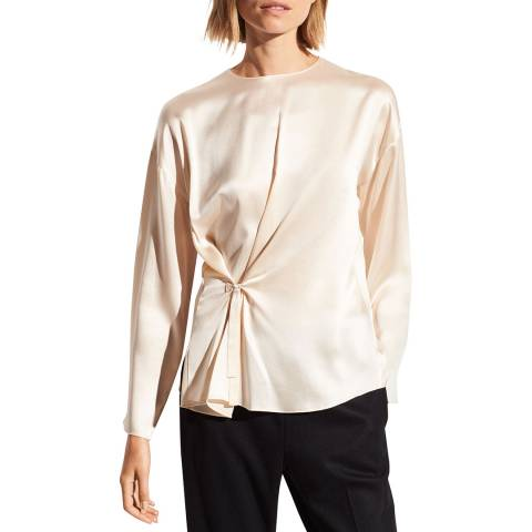 Vince Pearl Knotted Front Silk Blouse