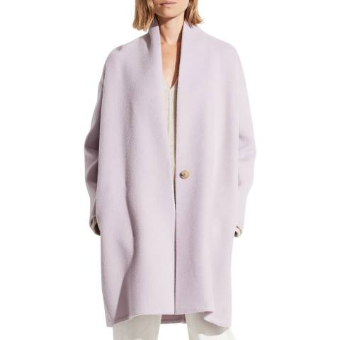 Vince Lily Stone Collarless Wool Blend Coat
