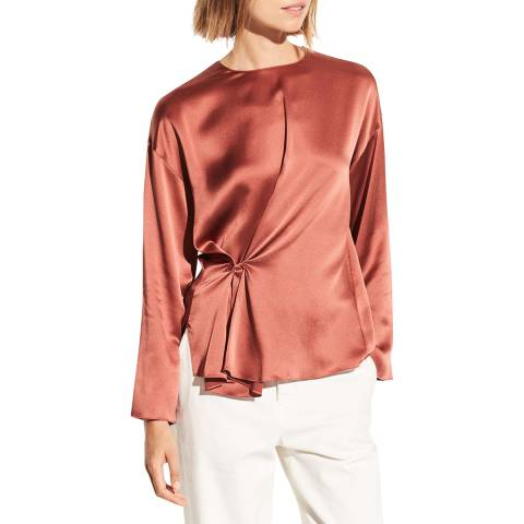 Vince Rosewood Knotted Front Silk Blouse