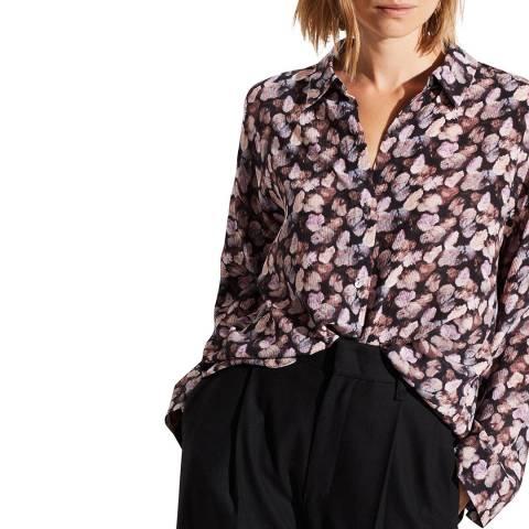 Vince Multi Painted Silk Floral Blouse