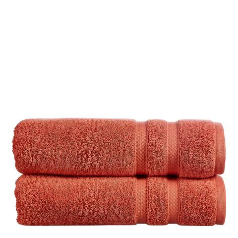 Christy Chroma Pair of Hand Towels, Cayenne