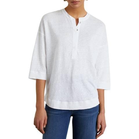 Jigsaw White Placket Long Sleeve Linen Shirt