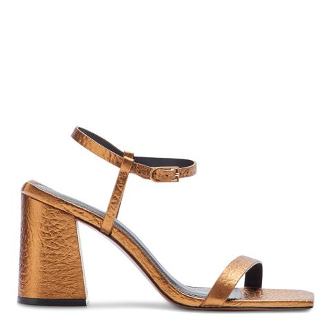 Jigsaw Gold Parnel Leather Heeled Sandals