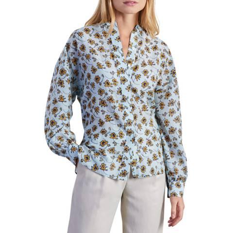 Jigsaw Blue Silk Cotton Voile Shirt