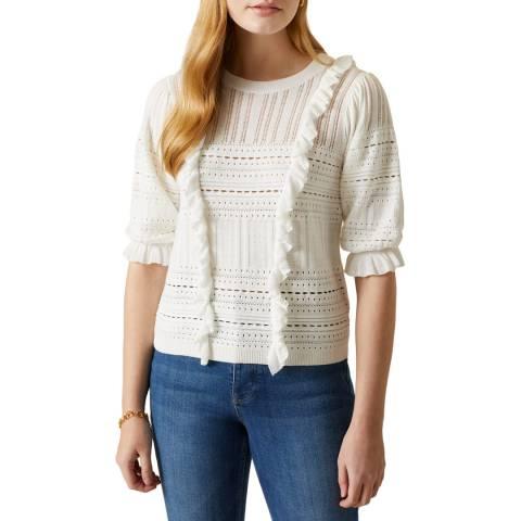 Jigsaw Ivory Lace Frill Knit Jumper