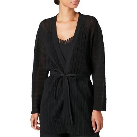 Jigsaw Black Plisse Kimono Cardigan
