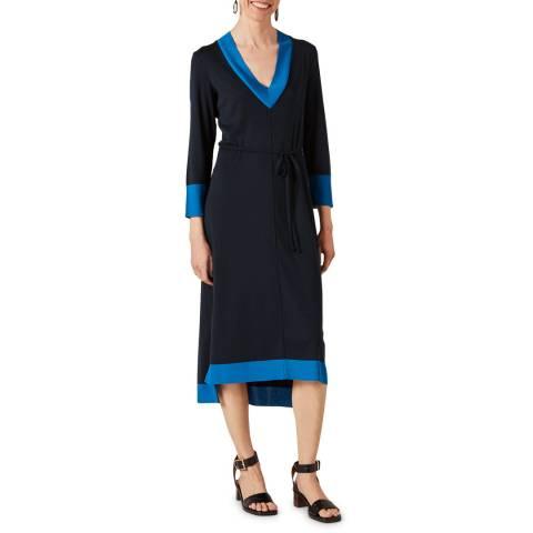 Jigsaw Navy V Neck Contrast Midi Dress