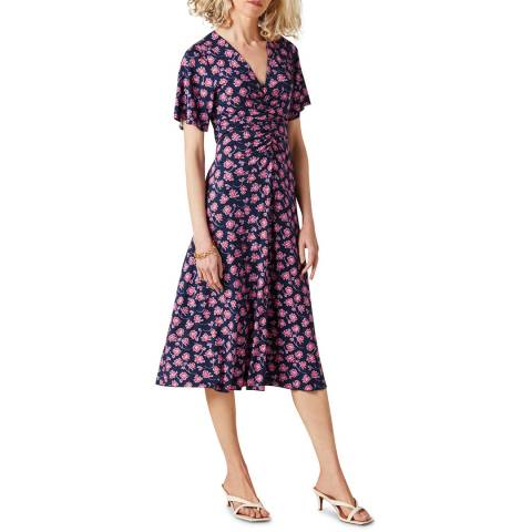 Jigsaw Navy/Pink Printed Jersey Midi Dress