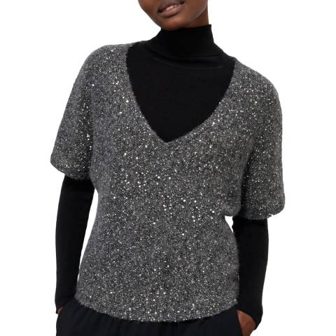 Jigsaw Charcoal Sparkle V Neck Top