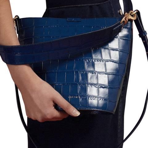 Jigsaw Navy Kenton Leather Bucket Bag