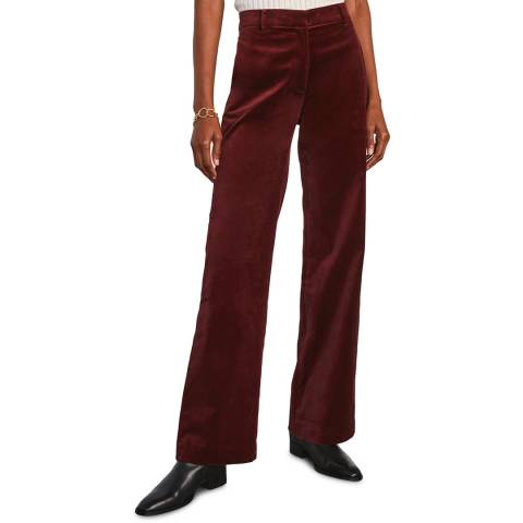 Jigsaw Dark Red Wide Leg Velvet Trouser