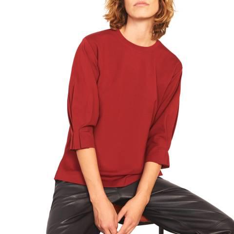 Jigsaw Red Pleated Cuff Sweatshirt