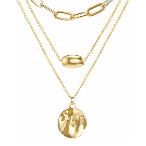 Liv Oliver 18K Gold Plated Layered Disc & Chain Necklace