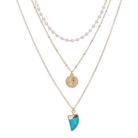 Liv Oliver 18K Gold Plated Layered Turquoise & Pearl Necklace