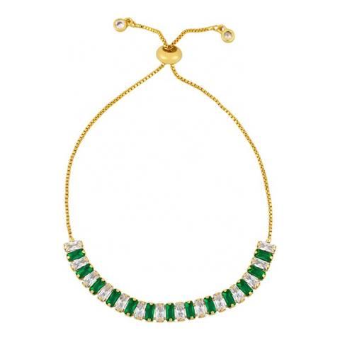 Liv Oliver 18K Gold Plated Green Tennis Bracelet
