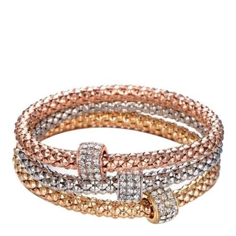 Liv Oliver 18K Gold Plated Tri Color Bracelet Set