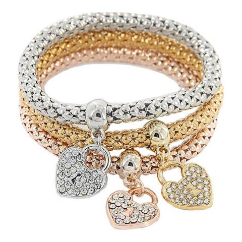 Liv Oliver 18K Gold Plated Tri Color Heart Bracelet Set