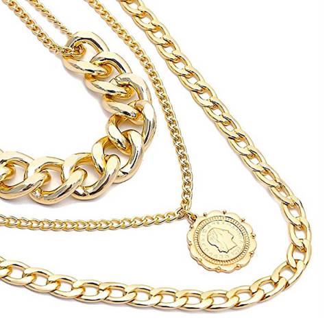 Liv Oliver 18K Gold Plated Multi Layer Coin Necklace