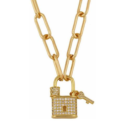 Liv Oliver 18K Gold Plated Lock Necklace