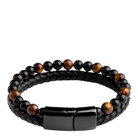 Stephen Oliver Black Plated Leather & Tiger Eye Bracelet