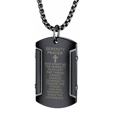 Stephen Oliver Black Plated Prayer Necklace