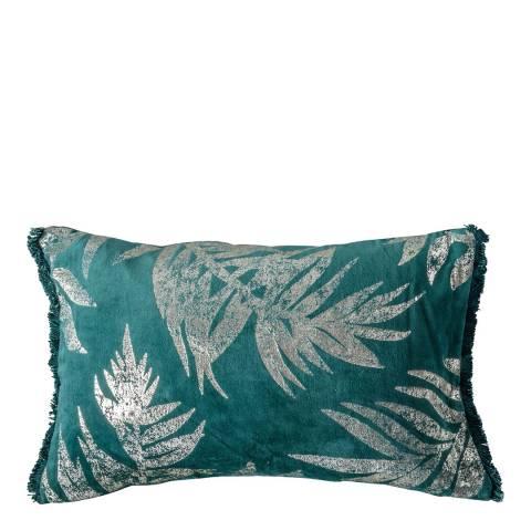 Gallery Velvet Metallic Leaves Cushion, Teal