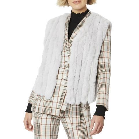JayLey Collection Grey Faux Fur Faux Suede V Neck Vertical Stripe Gilet