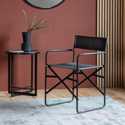 Gallery Set of 2 Jodhpur Black Leather Chairs