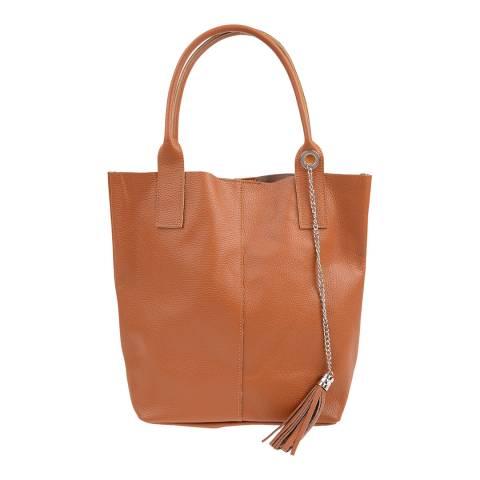Carla Ferreri Cognac Leather Shoulder Bag