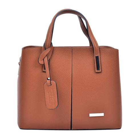 Sofia Cardoni Cognac Leather Top Handle Bag