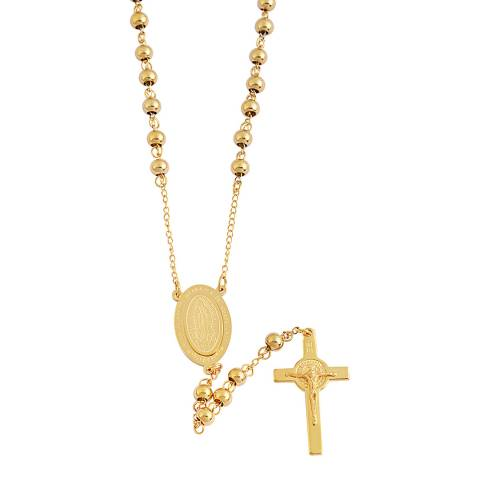 Liv Oliver 18K Gold Plated Rosary Necklace