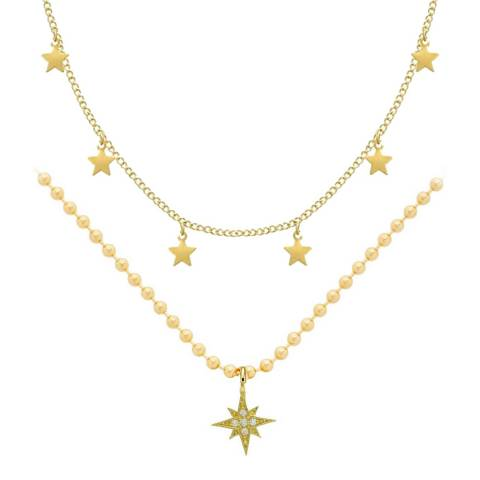Liv Oliver 18K Gold Plated Star Double Row Necklace