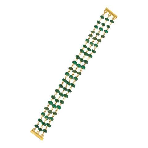 Liv Oliver 18K Gold Plated Multi Strand Emerald Bracelet