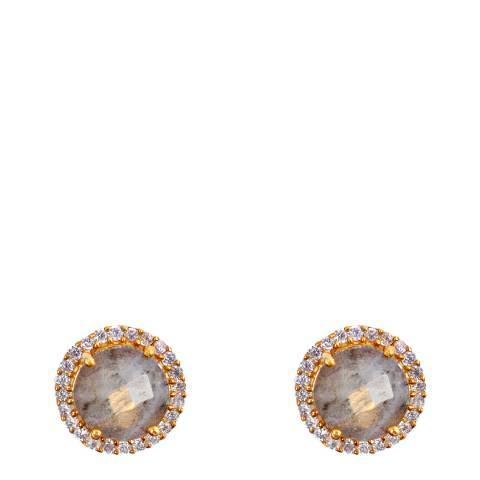 Liv Oliver 18K Gold Plated Labradorite Halo Earrings