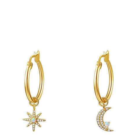 Liv Oliver 18K Gold Plated Star And Moon Drop Hoop Earrings